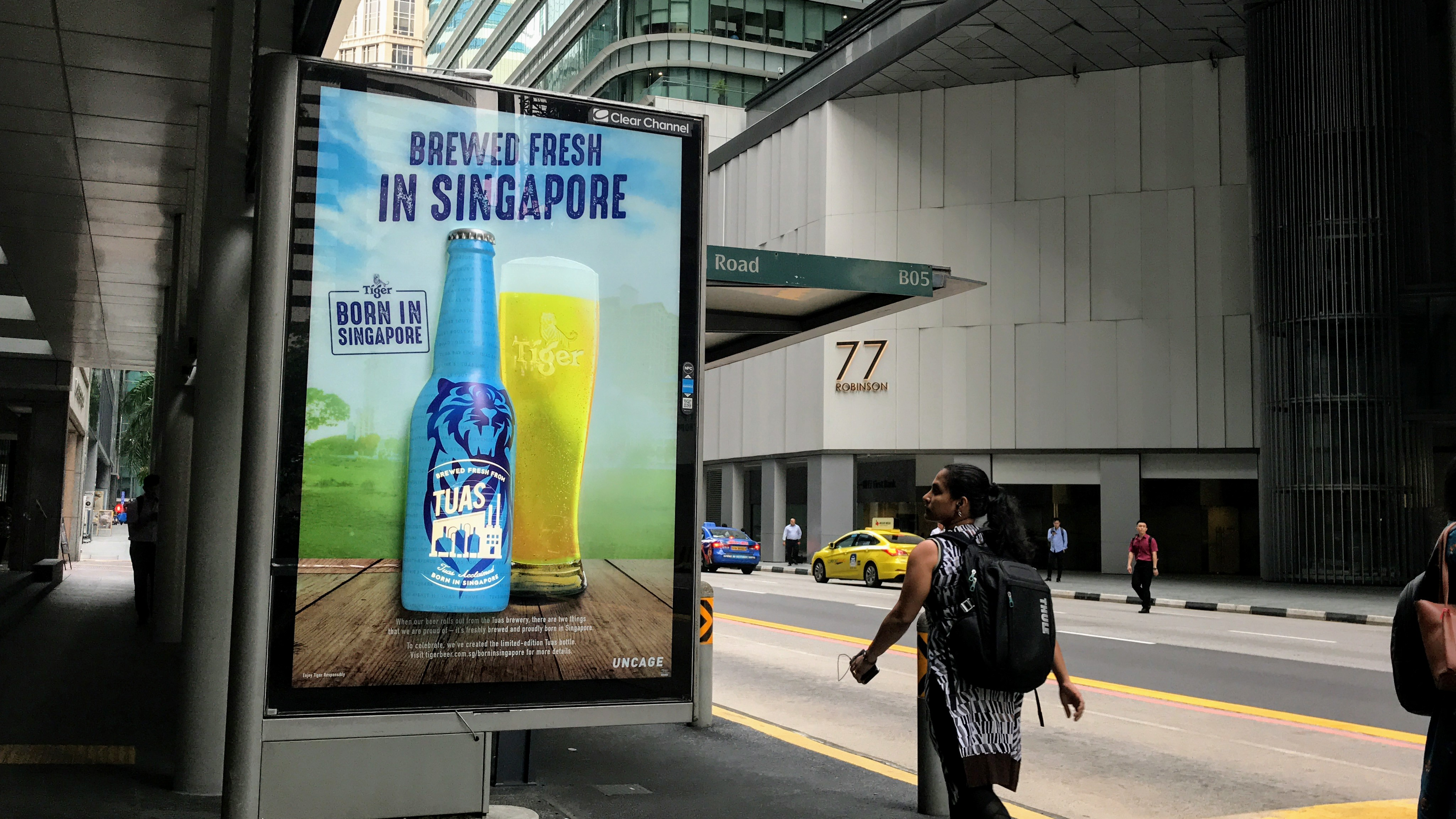 Tiger Beer has launched larger than life 3D versions of its bottle at bus shelters
