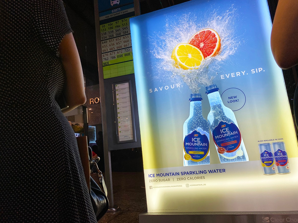 F&N goes creative in OOH with their launch of Ice Mountain unsweetened sparkling water series.